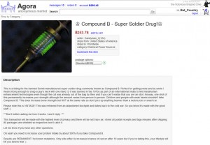 A screenshot from an online black market for superpowers